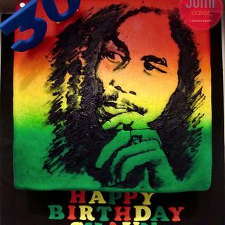 Royal Icing Hand-painted Bob Marley Cake