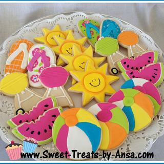 Summer Pool Party Cookies - Neon style!