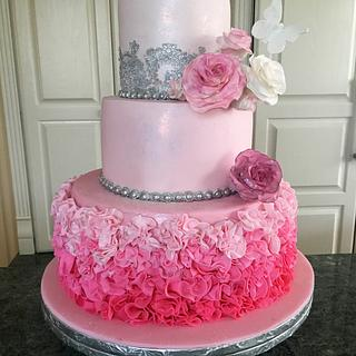 Pink ombré fondant ruffle cake