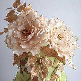 Pink Ruffles and Peonies with Rose Gold  Wedding Cake - Cake by Alpa Boll - Simply Alpa