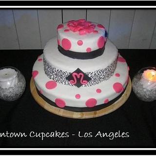 Black, White, & Pink Cake - Cake by CathyC