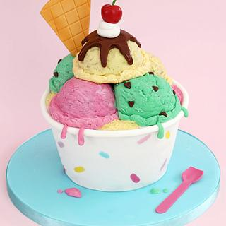 Ice Cream Sundae Cake - Cake by CakesbyLynz