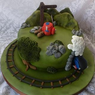 Hill walking and steam train cake