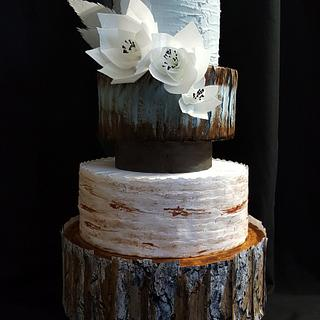 4 Tier Rustic Wedding Cake.