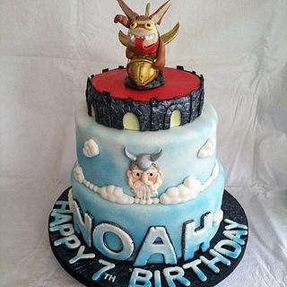 Skylander Video Game 2-Tiered Fondant Birthday Cake