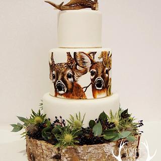 White-tailed Deer Wedding Cake