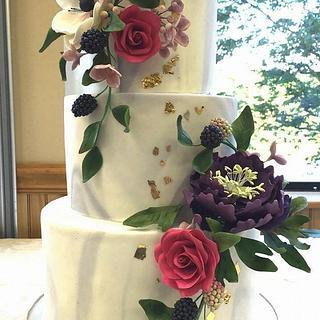 Marble Sugar Flower Cake - Cake by Ashley Barbey
