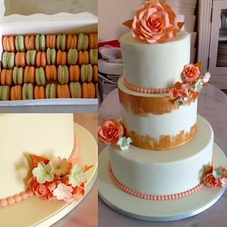 Mint, coral and gold wedding cake