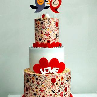 St Valentine's Birds Cake