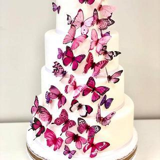 Pink butterflies - Cake by Alejandro Chichiraldi Pastelero