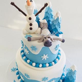 Frozen Theme 2-Tier Cake Olaf & Sven Figures