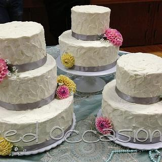 Sugar Dahlia Wedding Cake