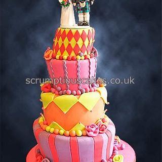 Colourful Wonky Wedding Cake