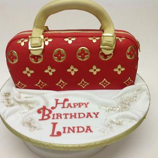 LV hand painted handbag cake