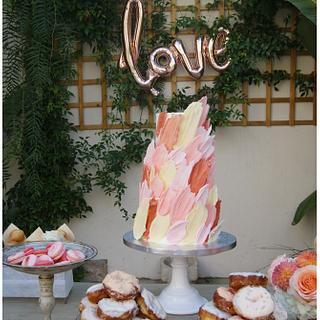 Blush & Coral Wedding Cake