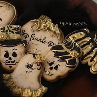 Gold Black Halloween Cookies