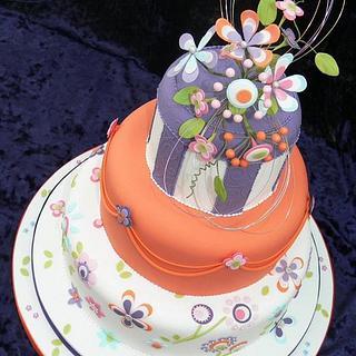 Funky Floral Wedding Cake