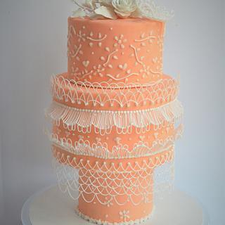 Royal icing string cake  - Cake by Divya iyer