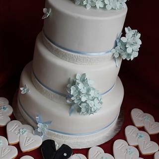 Light blue hydrangea cake and cookies