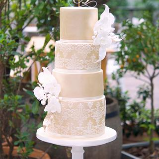 Damask Orchid Wedding Cake by Mericakes