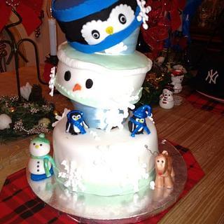 tilted snowman