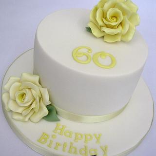 Lemon & White 60th Birthday Cake