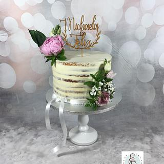 Simple semi naked Weddingcake