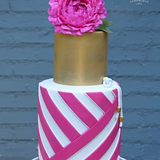 Hot Pink Peony & Crisscross Stripes!