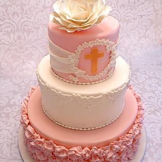 Ribbon Rose Communion Cake