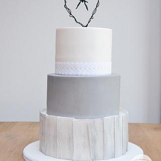 Rustic Grey Washed Wood effect Wedding Cake