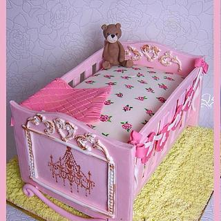 Antique Cradle Cake with hand painted roses ~
