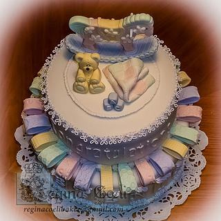 Ribbons baby shower cake