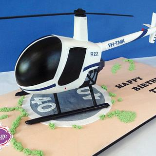 3D Robinson R22 Helicopter Cake - Cake by Eleanor Heaphy