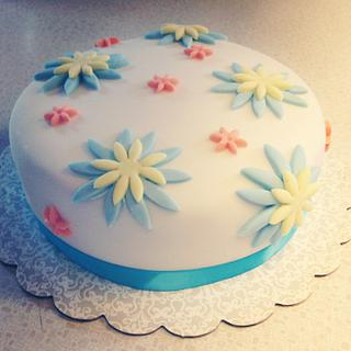 First time fondant flower cake