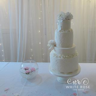 Four Tier Ruffles and Peonies Wedding Cake