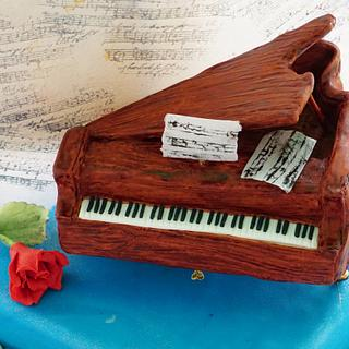 A Piano &  a Saxophone: A Double sided 16th Birthday Cake.