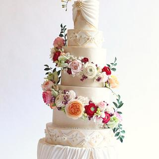 Towering Floral Wedding Cake
