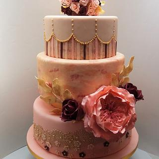 Wedding cake with David Austen (English) rose
