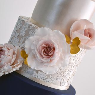 Gold, Navy & Lace Wedding Cake