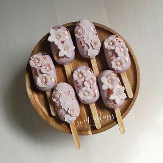 Rose Gold Floral Cakesicles by Lulu - Cake by Lulu Goh