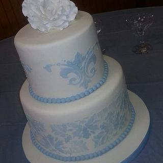 Blue and White Damask Cake