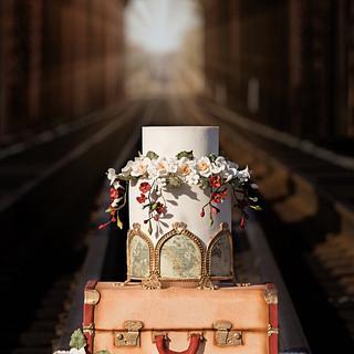 Vintage train wedding cake