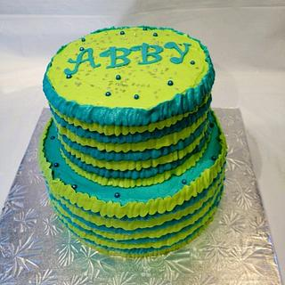 Teal and lime ruffles - Cake by Dawn Henderson
