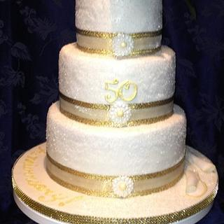50th Anniversary Celebrations Cake with Magnolia