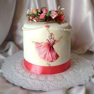 "Cake with hand-painted "" Ah ! ballet ,ballet!"""