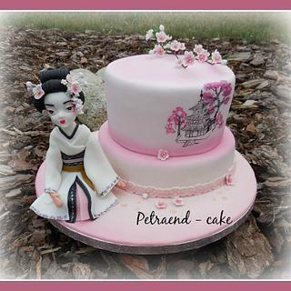 Geisha and Sakura - Cake by Petraend