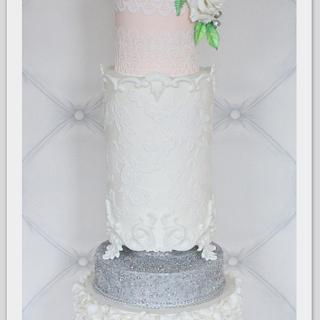 Peach silver ruffle lace baroque cake - Cake by Berber's Cakes & Moulds