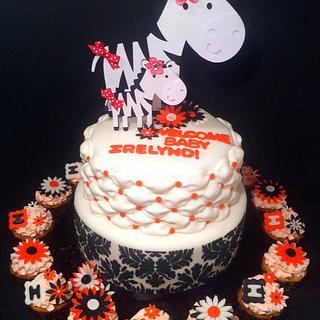 Zebra and Damask Babyshower Cake and Cupcakes