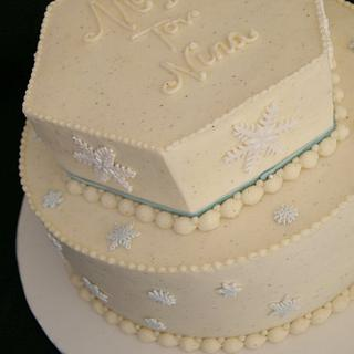 Winter Wonderland bat mitzvah cake