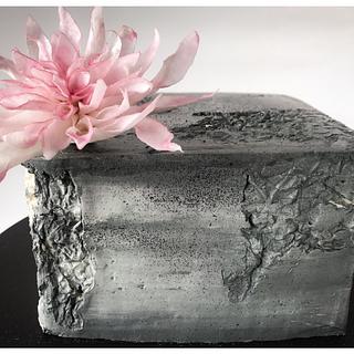 Concrete Buttercream Cake with Delicate Wafer flower - Cake by Homebaker